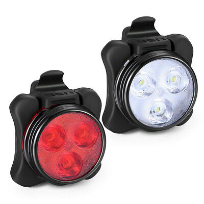 New USB Rechargeable LED Bike Headlight + Taillight Caution Bicycle Lights Set