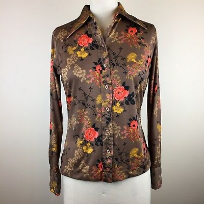 Vintage 1970s Brown Fall Floral Polyster Long Sleeve Blouse Sz XS/S ~ Boho