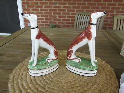 VINTAGE PAIR FITZ & FLOYD WHIPPET HOUNDS Mantle DogS