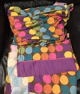 Vintage DELIA'S Bed FITTED FLAT SHEET Set TWIN Rainbow Circles POLKA DOT Fabric