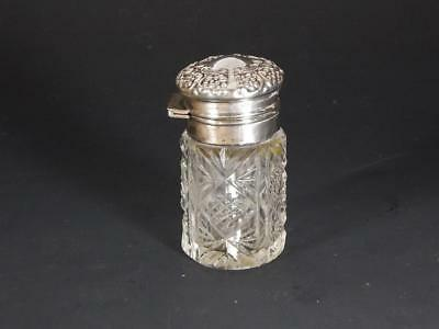 Small Antique Cut Glass Sterling Silver Scent Bottle by Lapierre