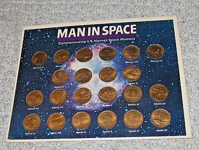 Space Missions 1969 Glendinning MAN IN SPACE  Bronze Coins