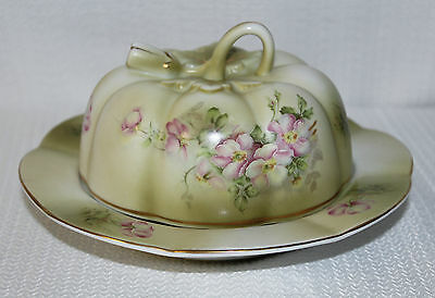 "Beautiful Hand Painted Nippon (Repro) ""Wildflower"" Covered Butter Dish Gold Trim"