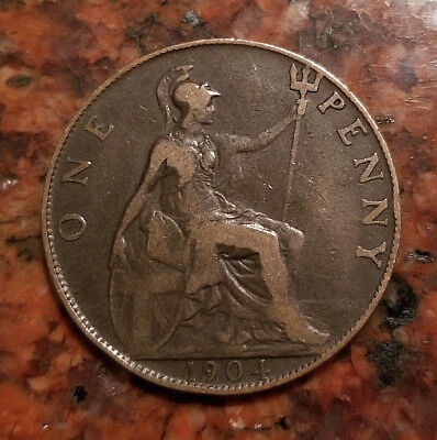 1904 Great Britain One Penny Coin - Bronze - #4443