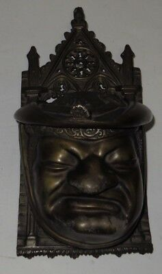 # Antique Brass Gothic Religious Head-Face Wall Pocket Match Box #