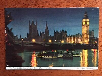 The Houses of Parliament Lit at Night and the River Thames, LONDON Postcard 1978
