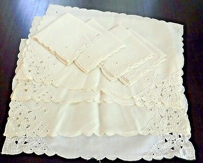 White Embroidered Table 4 Placemats 4 Napkins Linen Vintage Set of 8