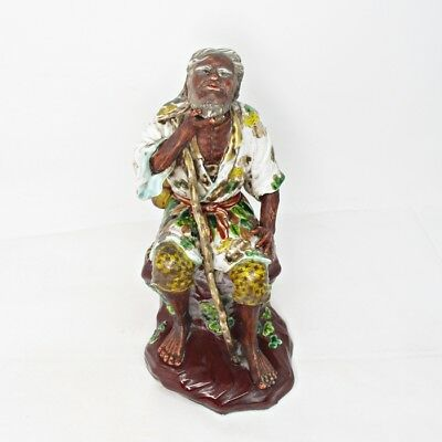 H050: Japanese statue of hermit of old KUTANI porcelain with very good work