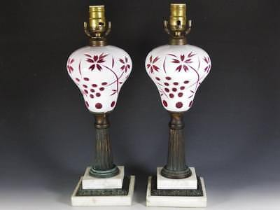 Pair: 19th c. Victorian Sandwich Glass Oil Lamps White Cut To Cranberry Overlay