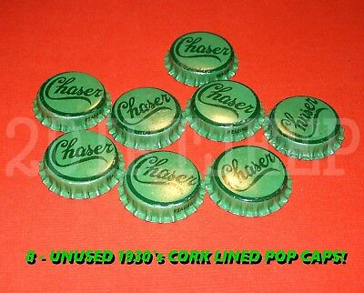 8 EARLY CHASER MIXER 1930's SODA OLD VINTAGE POP DRINK CORK UNUSED BOTTLE CAP C