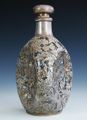 Antique Vintage Japanese / Chinese Export Sterling Silver Overlay Decanter