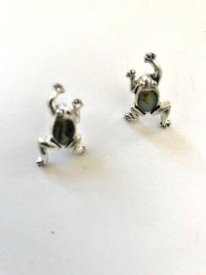 Frog Earrings Paua Shell Triple plated silver plate hypoallergenic posts New