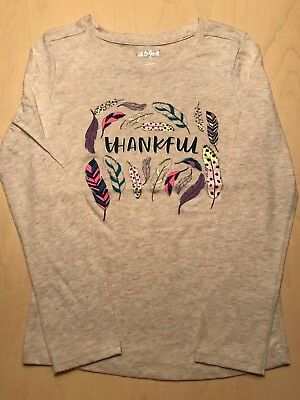 """Cat & Jack Girls Long Sleeve Tee Size 7/8  """"Thankful"""" Great for Thanksgiving"""