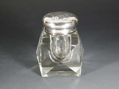 Antique Heavy Crystal / Glass Inkwell with Hinged Sterling Silver Cover