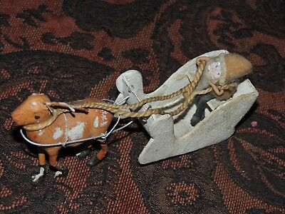 Rare Vintage Santa And Sleigh  Very Old Composition And Felt