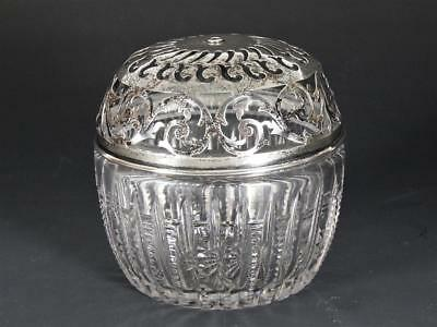Antique Gorham Cut Crystal Jar with Reticulated Sterling Silver Cover