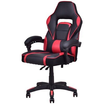 High Back Racing Style Bucket Seat Gaming Chair Swivel Office Desk PU Leather US