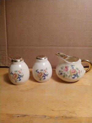 Antique salt & pepper shakers & creamer set old early vintage small set