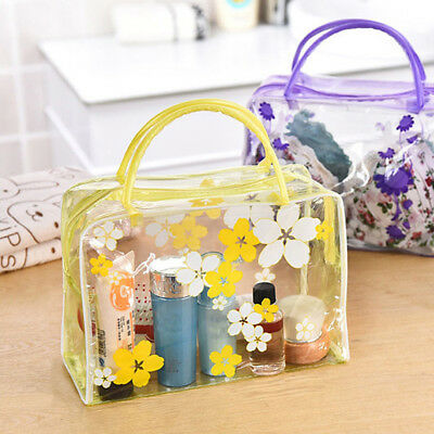 Woman Clear Floral Plastic Travel Cosmetic Make Up Toiletry Bag Zipper CA