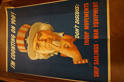 "Original Vintage OWI Propaganda Poster #78 Uncle Sam ""I'm Counting On You"""