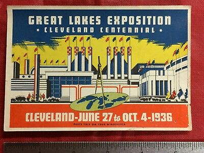 Cleveland 1936 Great Lakes Exposition Windshield  Promo Advertising Vintage