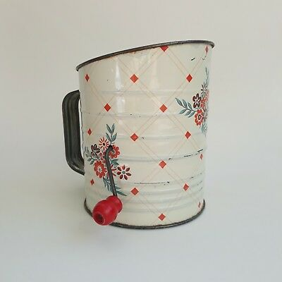 Vintage Tin Metal Flour Sifter Red Check Diamond Floral Flowers