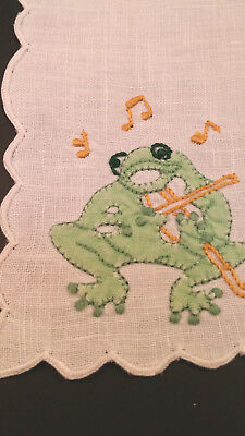 Vtg 3 Madeira Green Toads Frogs Playing Musical Instruments Cocktail Napkins