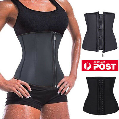 Black Latex Zip Waist Trainer Steel Boned Body Shaper Corset Tummy Cincher Slim