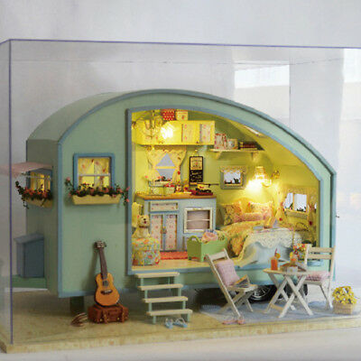 DIY Wooden Doll House With Furniture Staircase Fits Barbie Dollhouse Kids Toy