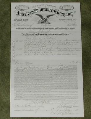 """1880 """"The American Insurance Company"""" Policy re: Troy Hills-Whippany Rd Property"""