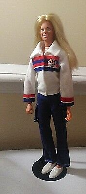 the bionic woman DOLL + oufit + shoes + black doll stand  kenner 1970s