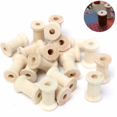 20Pcs Wooden Bobbins Spools Reels for Sewing Ribbon Textile Yarn Craft 27*16mm