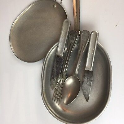VINTAGE US Military Mess Kit with Knife Fork 1917