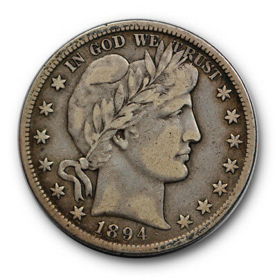 1894 S 50C Barber Half Dollar Very Fine to Extra Fine Toned Original #8895