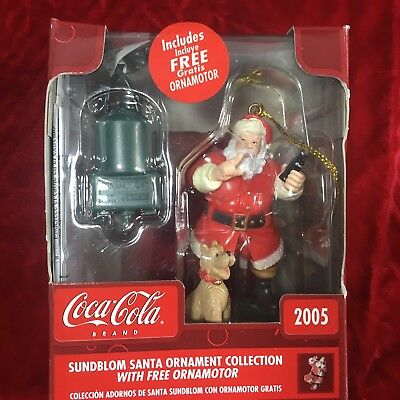 2005 Coca Cola Santa With Dog Sundblom Xmas Ornament Ornamotor Ornamotion