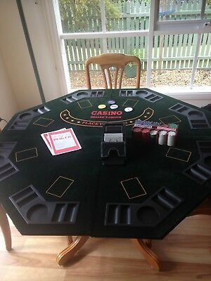 Poker Table Top - Foldable With Chips, Slide And 2 Felt Game Covers.