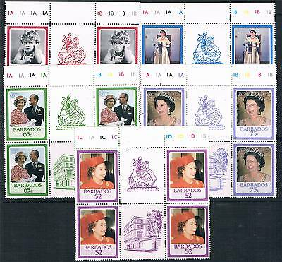 Barbados 1986 Queens 60th Birthday PLATE/GUTTER BLOCKS SG810/4 MNH