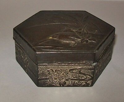 SMALL ANTIQUE ASIAN DESIGN METAL TRINKET BOX WWI + newspaper clip Edith Cavell