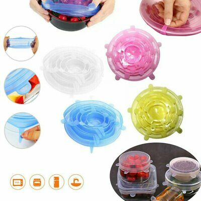 6PCS Stretch Reusable Silicone Bowl Wraps Food Saver Cover Seal Insta Lids HE