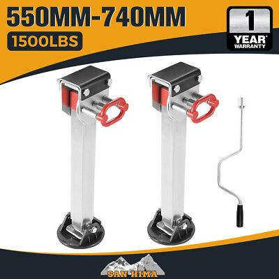 2X 740mm DROP DOWN CORNER STEADIES STABILIZER LEGS CARAVAN CAMPER TRAILER NEW