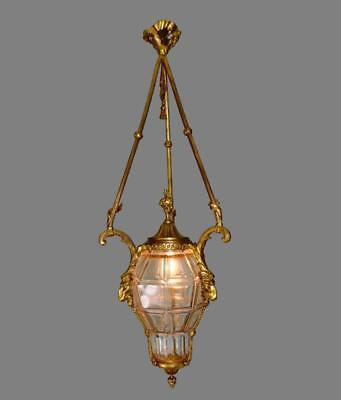 French Ormolu Bronze Louis XVI Ram Heads and Crystal Lantern Lighting