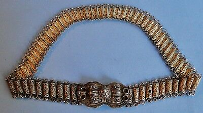Exquisite Antique Ottoman Islamic Solid Sterling Silver Gilt Filigree Belt 330 G