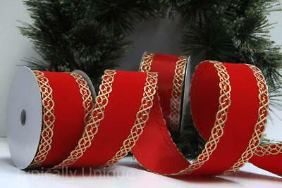 Christmas Ribbon India Jane 10 Yards Luxury Wire Edged Red Gold Gift Wrapping
