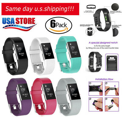 6 Pack Replacement Wristband For Fitbit Charge 2 Band Silicone Fitness Large
