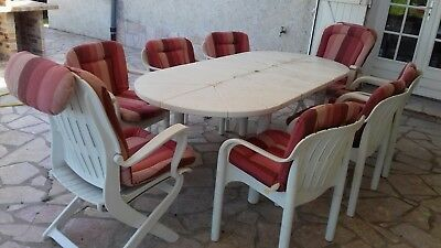SALON DE JARDIN PVC blanc Allibert Table 204x93x73 , 8 fauteuils+ ...
