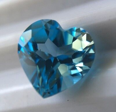 Blue TOPAZ- 7.2x 7.2mm HEART Cut- Good Strong Blue Colour- Loose-NEW