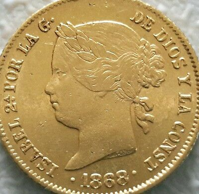 Philippines Gold 4 Peso 1868 Isabella II Spain in Superb Grade .. RARE !!!