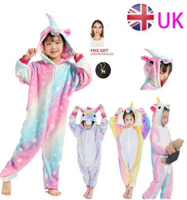 Kids rainbow Unicorn Kigurumi Animal Cosplay Costume Onesie2888Pajamas Sleepwear