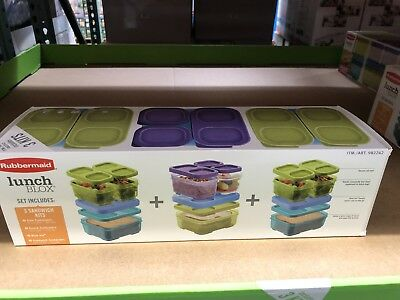NEW Rubbermaid Lunch Blox Sandwich Kits Side & Snack Containers Boxes + Icepacks