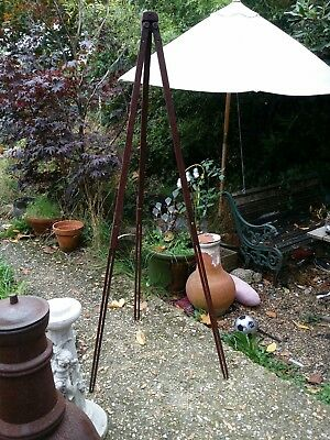 Vintage wood tripod with brass fixings. Ideal for a lamp project.